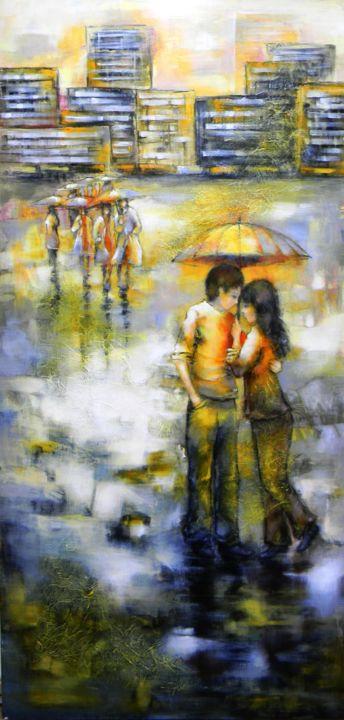 Sous la pluie.Nathalie Montel